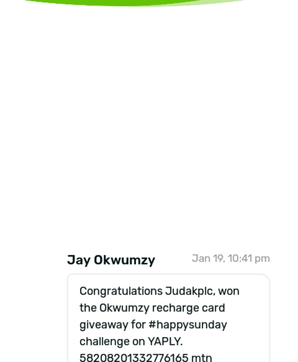Wow ,after the okwumzy happy sunday challenge, i emerged the winner what more can i say i thank you lord