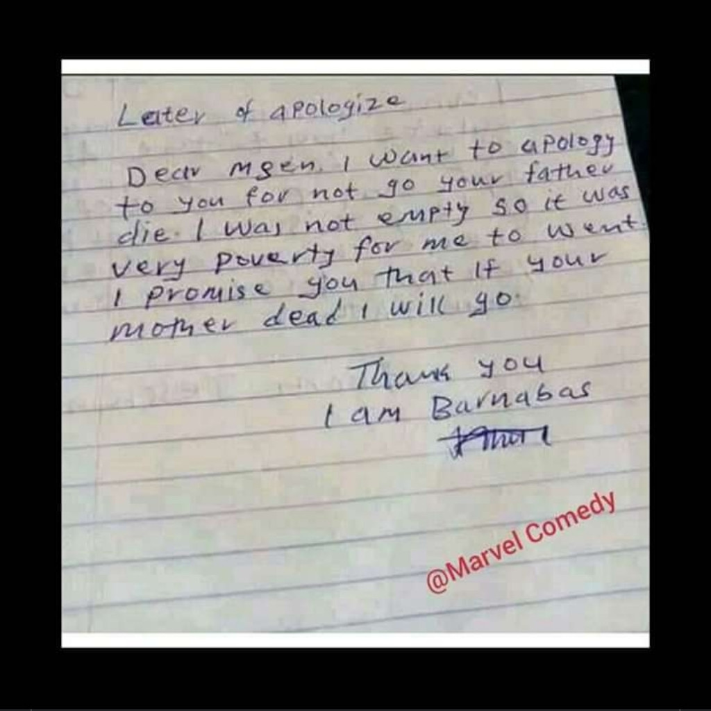 Apology accepted abeg